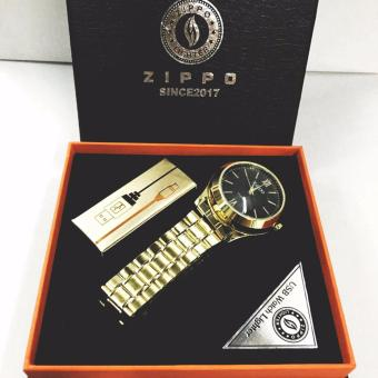 Harga Stephen and Sabrina Zippo Box Fashion Rechargeable Electronic Windproof USB Lighter Stainless Watch