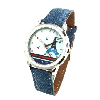 Harga Paris Unisex Blue Denim Leather Strap Watch 8866 (Grey)