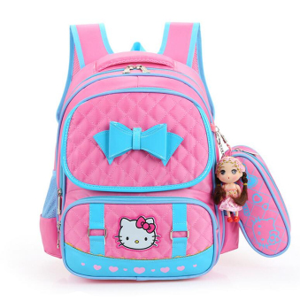 Hely TOP High-capacity Kids Girls Cartoon Schoolbag Waterproof Primary School Pupils Backpack with Pencil Bag (Pink) - Intl Price Philippines