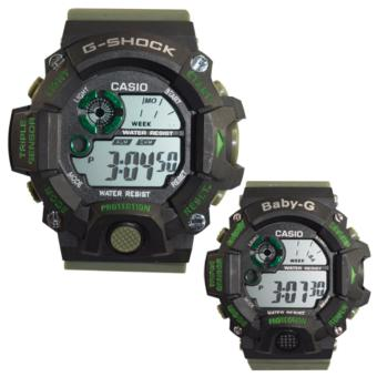 Casio Couple Rubber Strap Watch Triple Sensor (Black/ Moss Green) Price Philippines