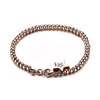 Harga 18K Rose Gold Plated Stainless Steel Beads with Small Star Charm Women's Bracelets- Intl