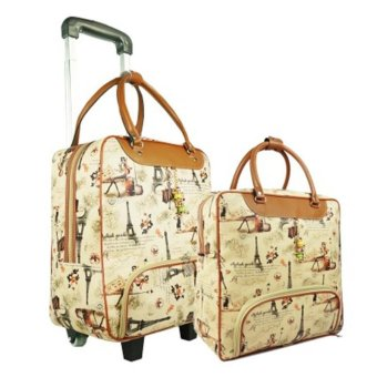Harga Large Capacity Duffel Travel Bag With Trolley Two Luggages - intl