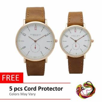 Harga Timeless Manila Nomus Leather Couple Watch (Brown) with Free 5 pcs Cord Protector