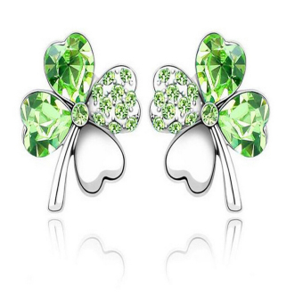 Harga J028 New 4 Leaf Four Leaf Clover Crystal Special Heart Love Stud Earrings Green - Intl