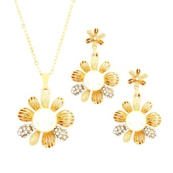 Bling Bling Asha Earrings and Necklace Jewelry Set (Gold) Price Philippines