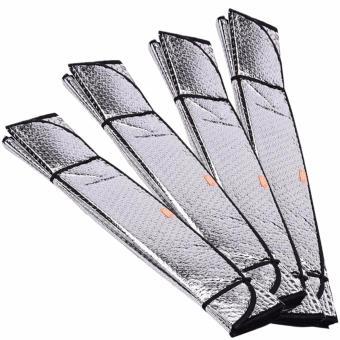 Foldable Windshield Sunshade Reflective Sun Block Car Cover Visor Silver Set of 4