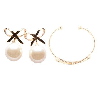 Athena & Co. Bow & Pearl Earrings (Gold) and Athena & Co. Bow Bangle (Rose Gold) Price Philippines