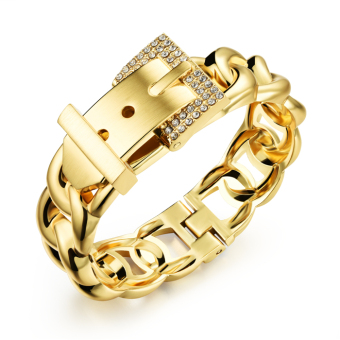 Harga PETREL Buckled Fried Dough Twist Shape Chain Lady Cuff Bracelets Gold And Silver (Intl)