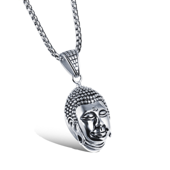 Harga PETREL Lucky And Safety Blessing Titanium The Buddha Head Mens Necklaces