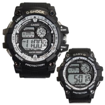 Casio Sport Couple Watch Resist Moss White/Black Rubber Strap Price Philippines