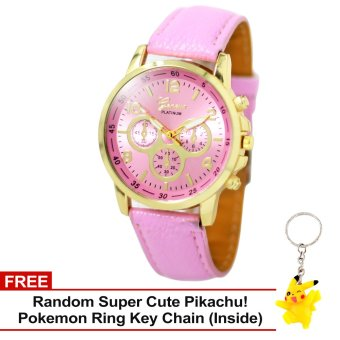 Harga Geneva Sophie Baby Pink Leather Strap Watch with Free Super Cute Pikachu Key Chain