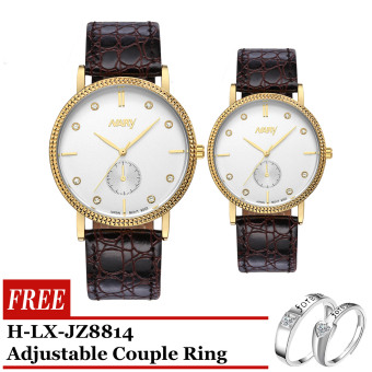 Nary 9003 Business Type Corporate watch Brown Strap Gold Frame White Face with Free H-LX-JZ8814 Adjustable Couple Ring Price Philippines