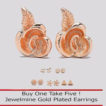 Jewelmine Rose 18k Gold Plated Earrings (Buy One Take Five) Price Philippines