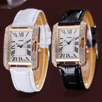 ANGEL Diamond Women Fashion Leather Strap Quartz Watch Set of 2 (Black/White) Price Philippines
