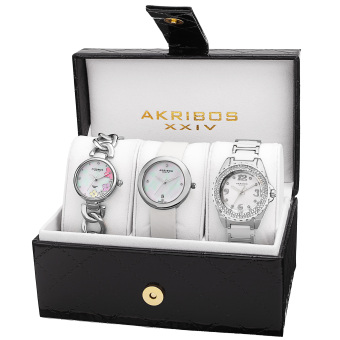 Harga Akribos XXIV Women's AK887SS Leather Strap , Quartz Box Set