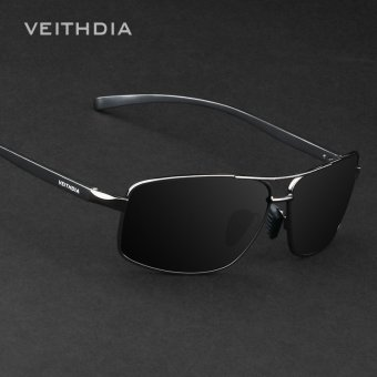 VEITHDIA Brand New Polarized Men's Sunglasses Aluminum Frame Sun Glasses Driving Eyewear Accessories For Men oculos de sol masculino 2458(Black/Gray) - intl Price Philippines