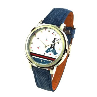 Harga Paris Unisex Blue Denim Leather Strap Watch 8866 (White)