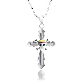 Anime One Piece Straw Hat Pirate Cross Pendant Necklace (Silver) Price Philippines