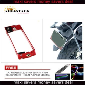 Harga Motorcycle License Plate Number Holder Universal Adjustable Bracket Red Frame for Honda Wave 110 Alpha (Mags)