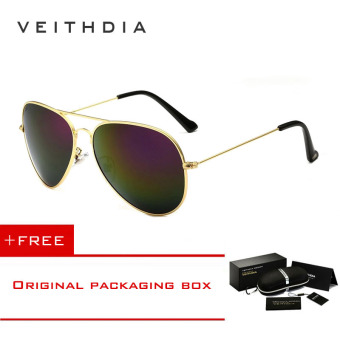 VEITHDIA Brand Classic Fashion Polarized Sunglasses Men/Women Colorful Reflective Coating Lens Eyewear Accessories Sun Glasses 3026(Gold purple) [ Buy 1 Get 1 Freebie ] Price Philippines