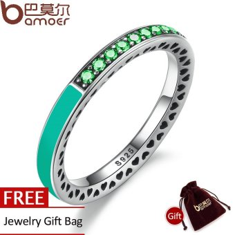 Harga BAMOER 925 Sterling Silver Radiant Hearts Bright Mint Enamel & Royal Green Crystals Women Ring Engagement Jewelry PA7619 - intl