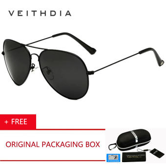 VEITHDIA Classic Fashion Polarized Sunglasses Men/Women Colorful Reflective Coating Lens Eyewear Sun Glasses 3026 ( Black ) [ Buy 1 Get 1 Freebie ] Price Philippines