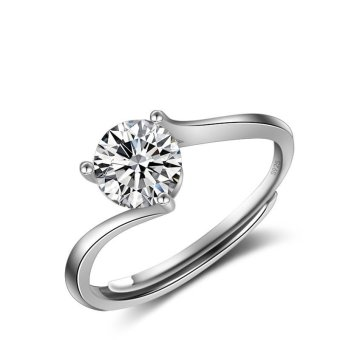 Harga Women Classic 1ct Engagement Ring Solid 925 Sterling Silver Jewelry Prong Setting Solitaire CZ Ring Proposal