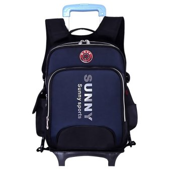 Fashionable Students Kids School Rolling Backpacks Wheeled Schoolbag (Dark Blue) Price Philippines