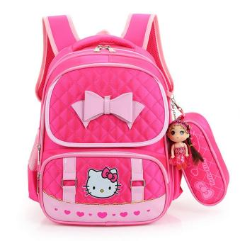 Hely TOP High-capacity Kids Girls Cartoon Schoolbag Waterproof Primary School Pupils Backpack with Pencil Bag (Rose) - Intl Price Philippines