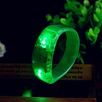 Harga Unisex Sound Controlled LED Light Up Bangle Activated Glow Flash Bracelet - intl