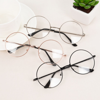 Harga Retro Fashion Round Frame Metal Rimmed Reading Glasses Eyeglasses Unisex (Gold)
