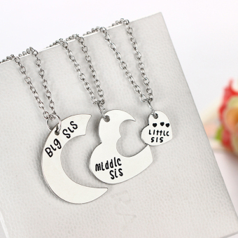 Fashion Girls Big Sis Middle Sis Little Sis Best Sisters Forever Chain Necklace 3pcs Set - intl Price Philippines