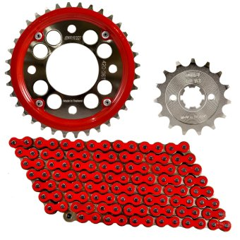 Harga Osaki Revo#1 VEGA/VEGA FORCE 14-34x420-110 Chain Set W/ Chain Guide (Red)