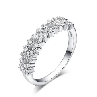 Harga 1.1ct CZ Diamond Ring Romantic Proposal Band Solid 925 Sterling Silver Ring Gift