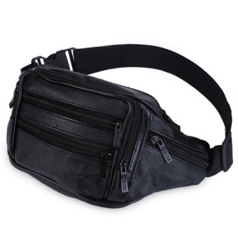 Bang Sport Men Business Waist Bag Leather Zipper (Black) - intl Price Philippines