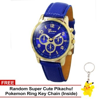 Harga Geneva Sophie Blue Leather Strap Watch with Free Super Cute Pikachu Key Chain