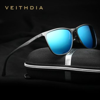 VEITHDIA Retro Aluminum Magnesium Brand Sunglasses Polarized Lens Vintage Eyewear Accessories Sun Glasses Men/Women 6623 (Gun/Blue) - intl Price Philippines