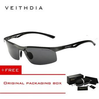 VEITHDIA Aluminum Magnesium Polarized Mens Sunglasses Rimless Driving Sun Glasses Sport Eyewear Accessories For Men male 6591(Grey) - intl Price Philippines