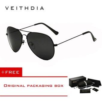 VEITHDIA Brand Classic Fashion Polarized Sunglasses Men/Women Colorful Reflective Coating Lens Eyewear Accessories Sun Glasses 3026(Black) - intl Price Philippines