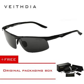 VEITHDIA Aluminum Magnesium Polarized Sunglasses Men Sports Sun glasses Night Driving Mirror Male Eyewear Accessories Goggle Oculos 6502 (Black) - intl Price Philippines