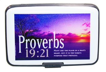 Inspire Bible Verses Card Holder Proverbs 19:21 (White)