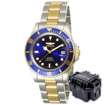 INVICTA Pro Diver Men 40mm Case Steel, Gold Stainless Steel StrapBlue Dial Automatic Watch 8928OB w/ Impact Case B - intl Price Philippines