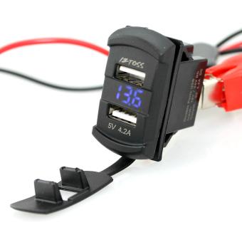 IZTOSS Dual Port USB Car Charger w/ Blue LED Light Voltmeter - Black - intl