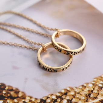 Jetting Buy Chic Best Friend Forever Ring Pendant NecklaceFriendship Letters Necklace Gold - 4