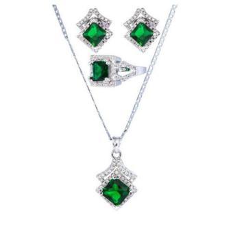 Jewelmine Arrow Emerald Cubic Zircon Jewelry Set ( white gold) - 2