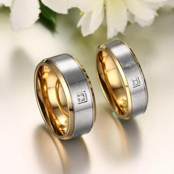 Jewelry Men Women For Titanium 18K Gold-Plated Wedding EngagementBand Couple Ring with Zircon - intl