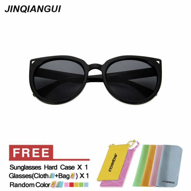 JINQIANGUI Sunglasses Women Cat Eye Retro Plastic Frame Sun Glasses BrightBlack Color Eyewear .