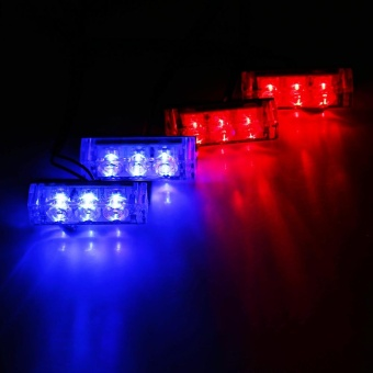 Justgogo-12V Car Auto Strobe Flash Light Police Strobe Beacon Lamp Red blue