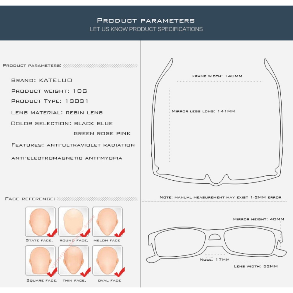 KATELUO TUNGSTEN Computer Goggles Anti Laser Fatigue Radiation resistant Glasses Eyeglasses Frame Eyewear .