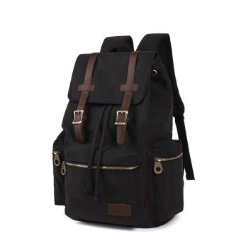 KAUKKO vintage retro canvas Backpack rucksack School Bag TravelBag, Black - Intl